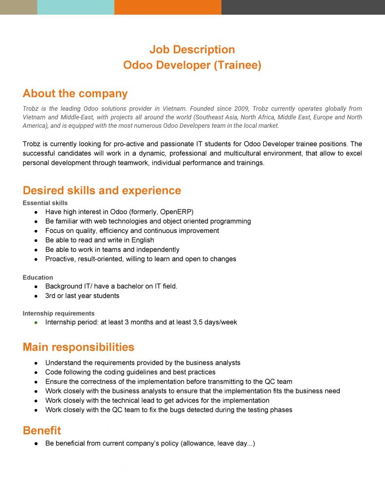 Trobz - HR - Recruitment - Odoo Developer Trainee